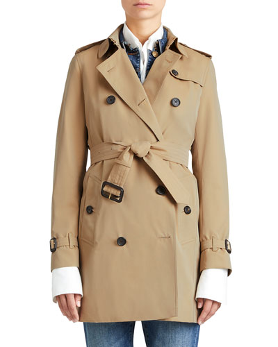 Modern-Fit Woven Trenchcoat, Honey