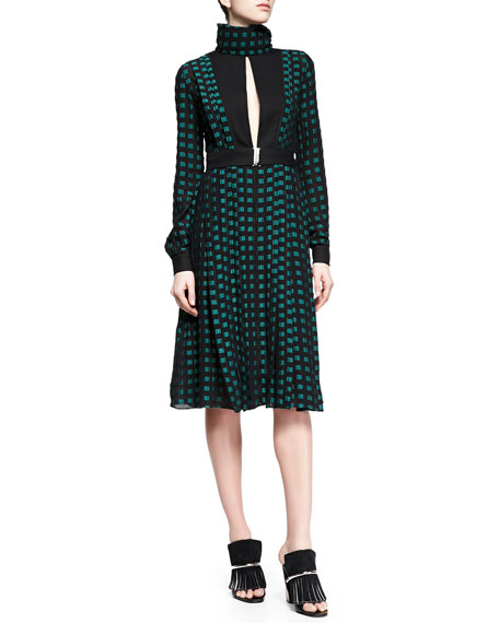 Proenza Schouler Fil Coupe Slit Square-Dotted Dress, Black/Green