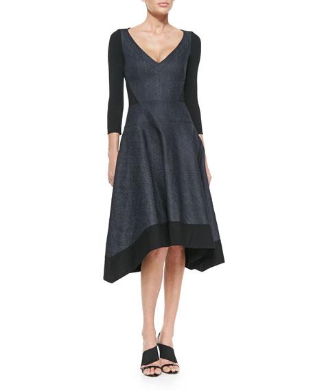 Donna KaranV-Neck Denim/Jersey Dress