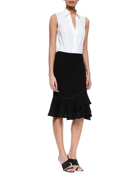 Layered Flounce-Hem Skirt, Black