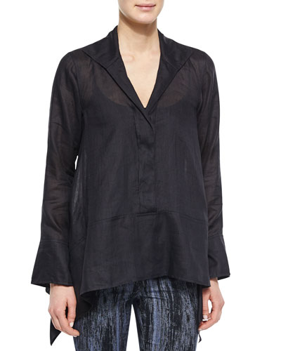 Long-Sleeve Linen Tunic Top, Black