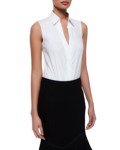 Sleeveless Collared Poplin Bodysuit