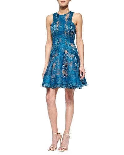 Scalloped Lace Flounce Mini Dress, Capri Blue