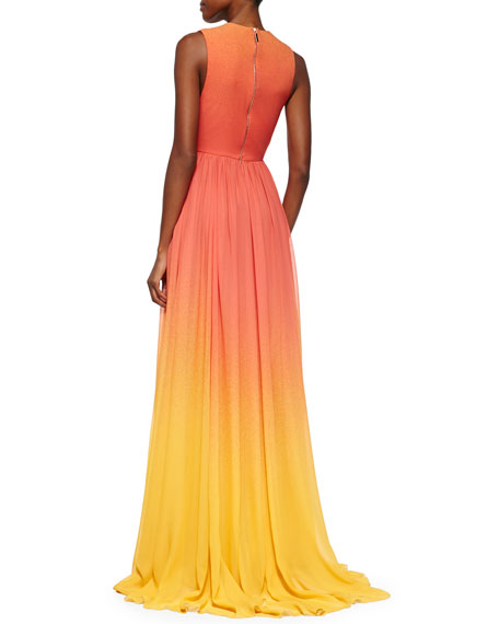High-Slit Ombre Silk Gown, Coral Reef/Lemon