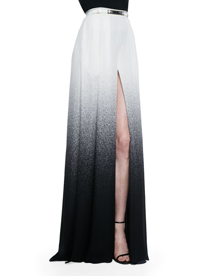 Elie Saab Long Slit-Front Degrade Skirt