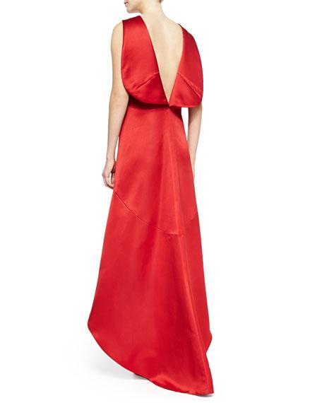 Satin High-Low V-Back Dress, Cardinal