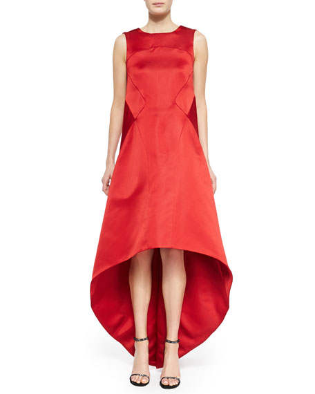 Zac Posen Satin High-Low V-Back Dress, Cardinal