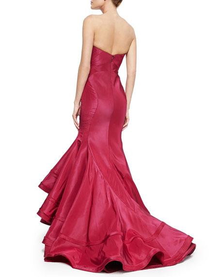 Zac Posen Strapless Taffeta Mermaid Gown, Sangria