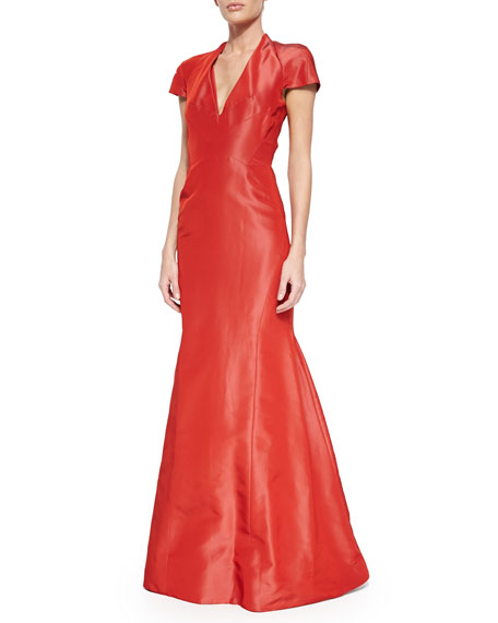 Zac Posen Cap-Sleeve Silk Trumpet Gown, Aurora Red