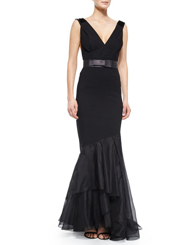 Tape-Strap Belted Plunge-Neck Gown, Black