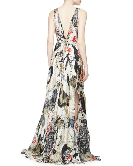 Donna Karan Street Art-Print V-Neck Gown, Parchment Multi
