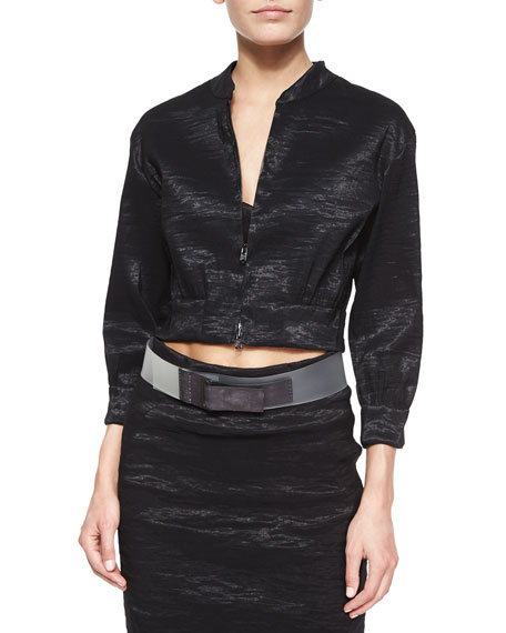 Donna Karan Crinkled Organza Cropped Jacket