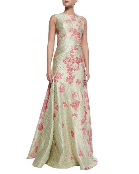 High-Neck Floral Cloque Gown