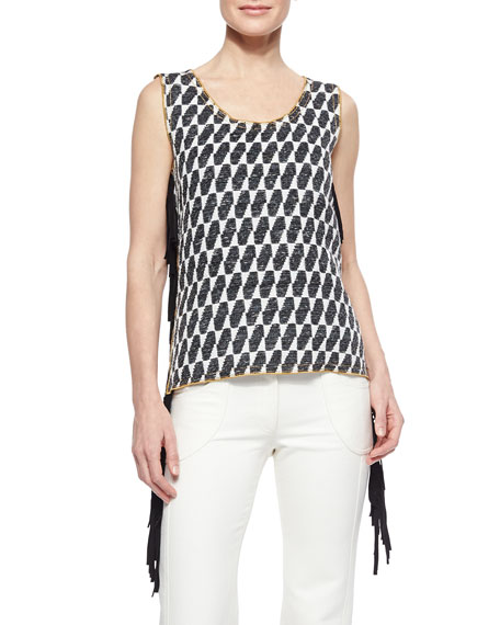 Derek Lam Ikat Checked Fringe Top