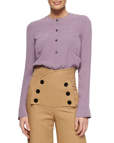 Long-Sleeve Georgette Blouse, Parme