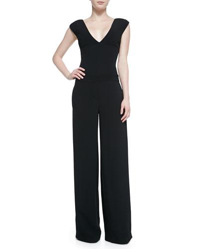 V-Neck Wide-Leg Jumpsuit, Black