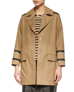 Contrast-Seamed Bonded Trench Coat, Twig