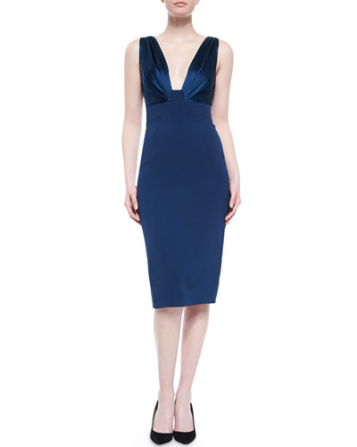 Deep V-Neck Combo Sheath Dress, Blue Nile