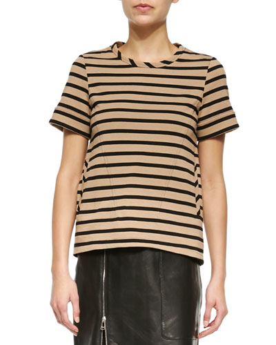 Short-Sleeve Striped High-Low Tunic, Black/Tan