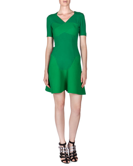 Roland Mouret Redworth Pique-Inset Flounce Dress, Kelly Green