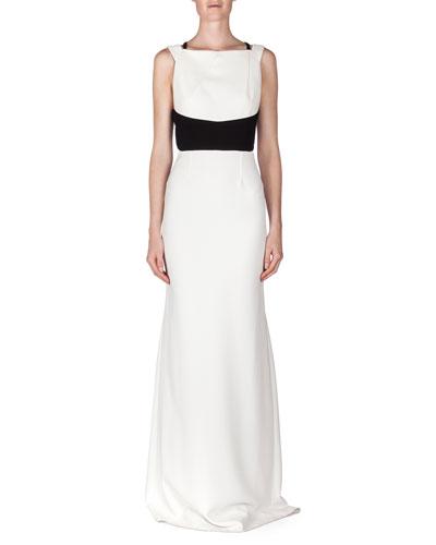 Ruloe Contrast Multi-Strap Back Gown, White/Black
