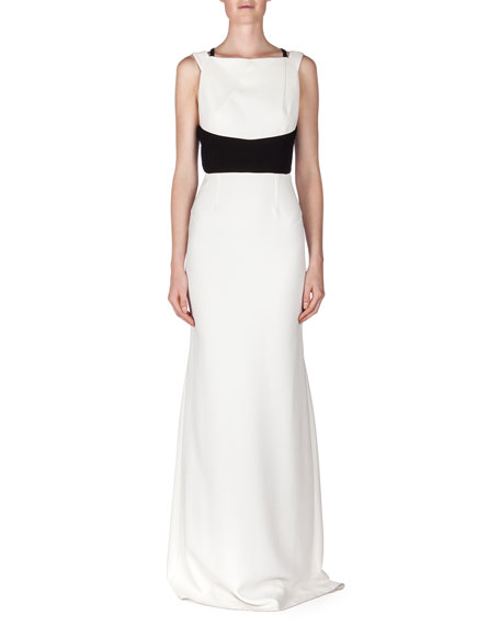 Roland Mouret Ruloe Contrast Multi-Strap Back Gown, White/Black