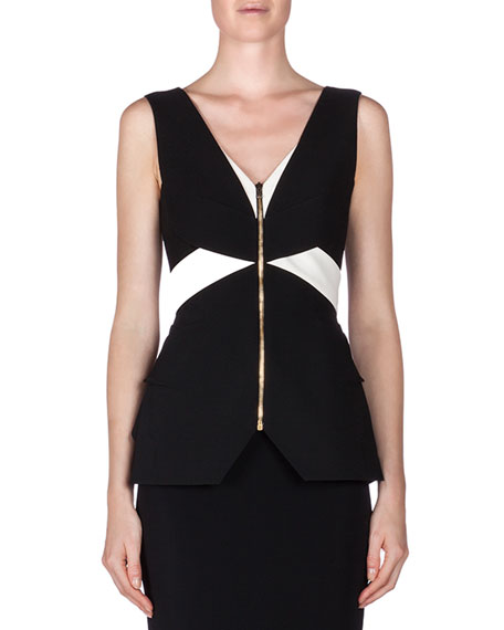 Roland Mouret Perreton Colorblock Peplum Top, Black/White