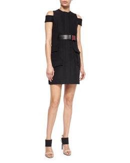 Compact Crepe Pocket-Detailed Dress
