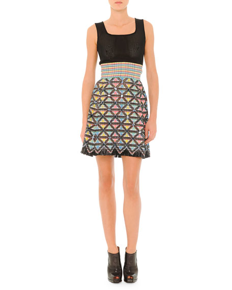 Fendi Sleeveless Dress with Textured Skirt