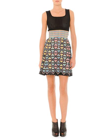 Fendi Sleeveless Dress with Textured Skirt