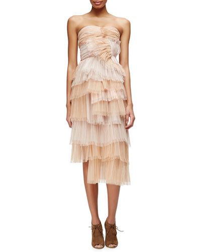 Strapless Petal-Pleated Tiered Bustier Dress