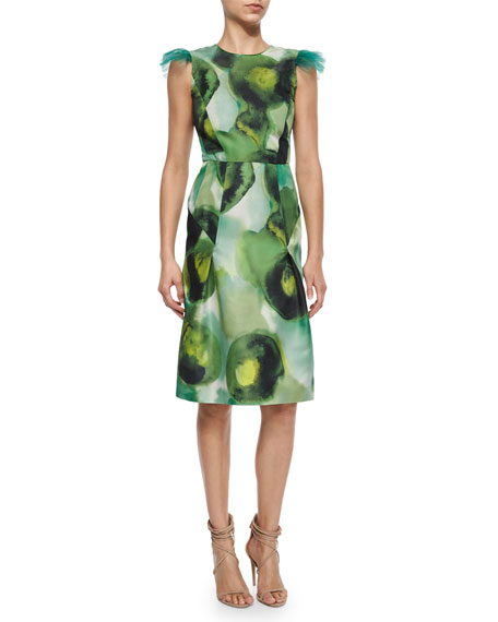 Burberry Prorsum Ink Sponge Floral-Print Dress