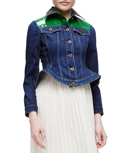 Patent-Yoked Denim Peplum Jacket
