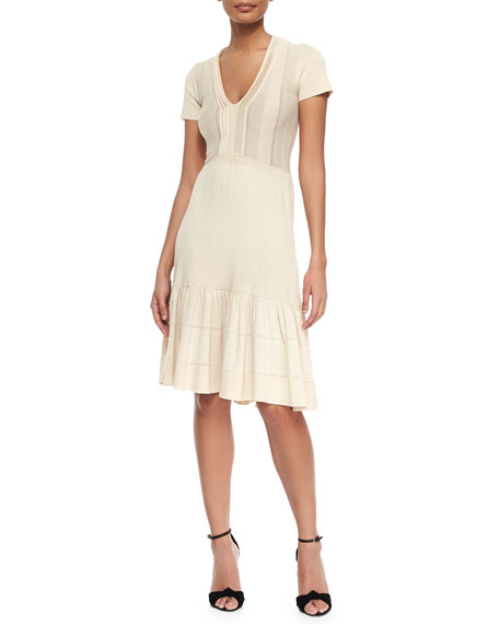 Burberry London V-Neck Knit Flounce Dress, Parchment