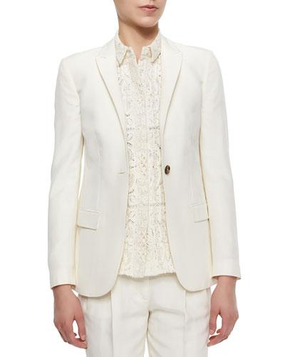 One-Button Fitted Silk Blazer