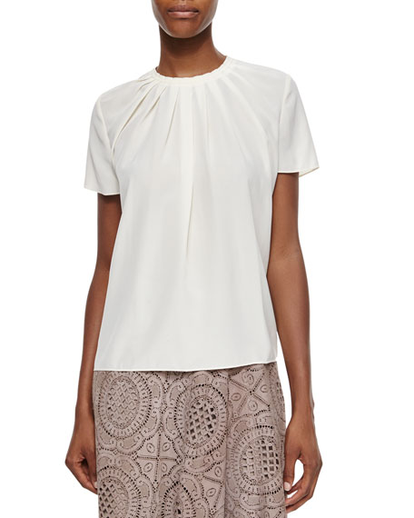 Burberry London Pleated Short-Sleeve Blouse