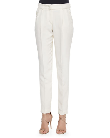 Burberry London Slim Tailored Silk Trousers, Parchment