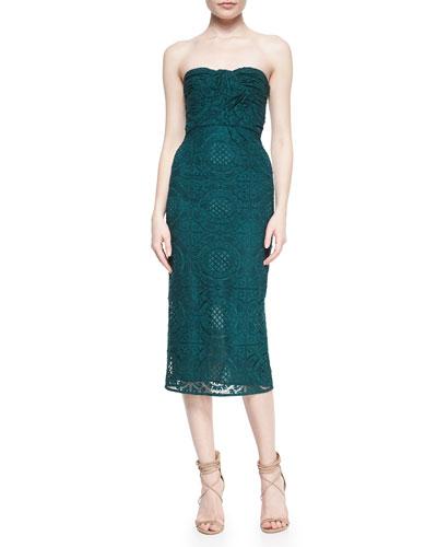 Twist-Front Strapless Lace Dress