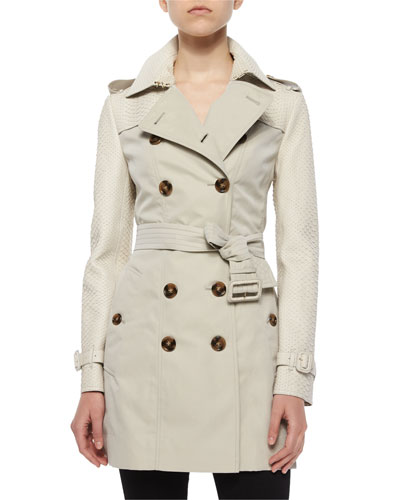 Bythan Python-Trimmed Double-Breasted Trenchcoat