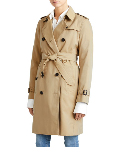 Modern-Fit Long Woven Trenchcoat, Honey