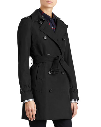 Modern-Fit Long Woven Trenchcoat, Black