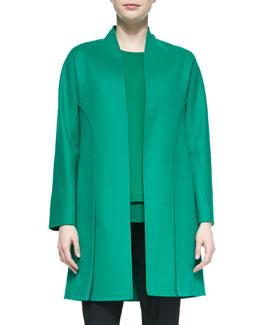 Cashmere-Blend Paneled Coat, Jade