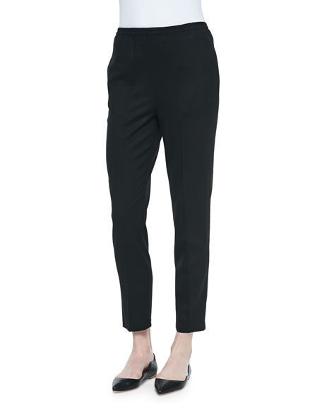 Shamask Tropical Wool Slim Trouser, Black