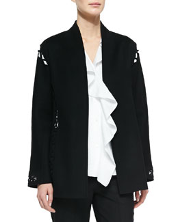 Cashmere-Blend Lattice Cutout Cardigan, Black