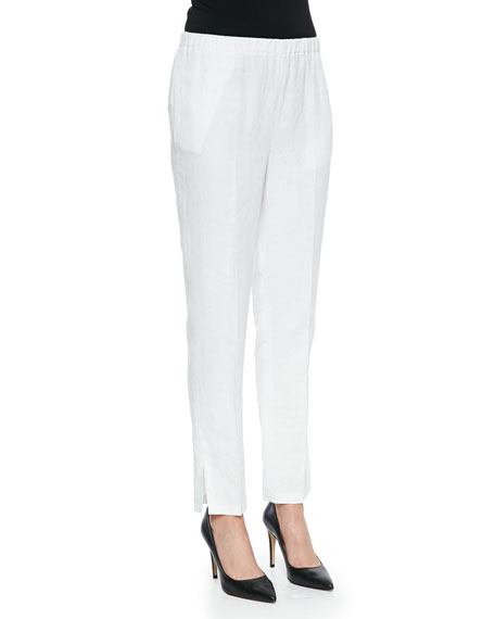 Shamask Tapered Slim-Fit Crepe Pants, White