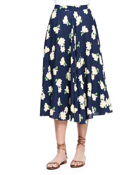 Michael Kors Camellia-Print Ruffled Circle Skirt, Indigo/White/Yellow