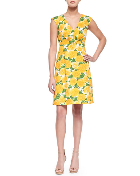Michael Kors Sleeveless Daffodil-Print V-Neck Dress