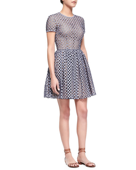 Michael Kors Lattice Gingham Fit-and-Flare Dress, Indigo/White