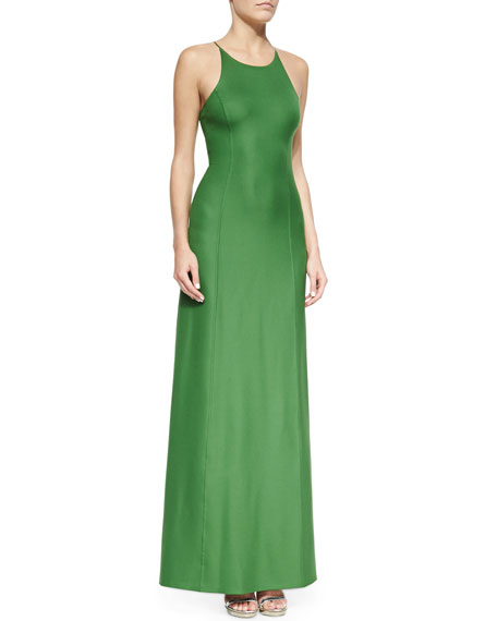 Michael Kors Open-Back Satin Gown, Lawn