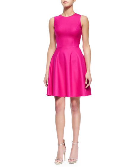 Michael Kors Stretch-Crepe Fit-and-Flare Dress, Geranium
